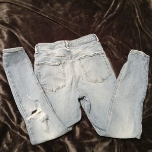 Forever21 Straight Leg Distressed Jeans